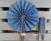 Foldable African Wax Print Fabric & Leather Fan -- Blue Centipede --  Black Leather -- Ankara Hand Fan -- Accessories