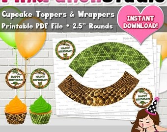 DIY Printable Reptile Birthday Party Cupcake Toppers and Wrappers PDF Instant Download Snake Turtle Frog Lizard