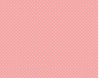 Coral Swiss Dots Fabric c670 Coral Riley Blake Designs - Small Polka Dot Fabric - Coral Fabric - White Fabric Quilting Cotton - Quilt Cotton