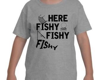 Here Fishy Fishy Tackle Carp Bass Love to Fish Fisherman Gift Idea Funny Fish Tee for Kids