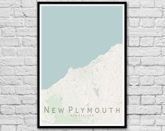 NEW PLYMOUTH New Zealand City Street Map Print | Travel Print | Wall Art Poster | Wall decor | A3 A2 | Seaside Print | Gift for Couple