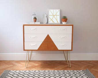Vintage G Plan Chest of Drawers, Upcycled & Painted White with Triangle Design and Gold HairPin Legs. Mid Century Scandi
