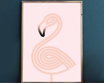 Dreamy bird - flamingo wall art, geometric Giclee print, minimalist art print for the home decor, bird print