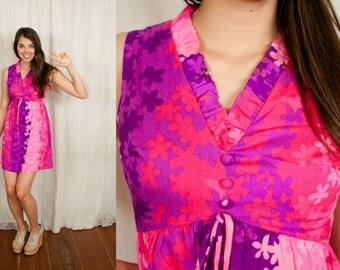 1960s / 1970s Pink and Purple Hawaiian Micro Mini Go Go Dress - XS