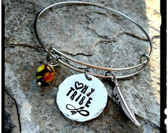 My Tribe • Love My Tribe Charm Bangle - Hand Stamped Pewter Charm//Feather//Jasper Stone(Choose Color)Stainless/Silver/Gift