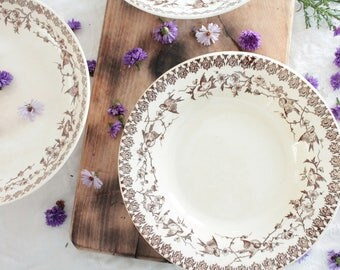 French antique dinnerset of 7 soup plates + 2 French antique pedestals Ht Boulenger, Choisy le roi HB & Cie, ironstone, transferware