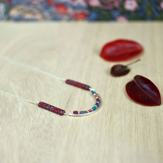 Burgundy necklace, boheme necklace, minimal design necklace, flower pattern, sterling silver