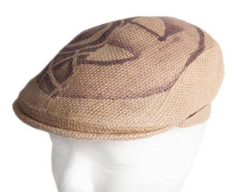 """Flat Cap """"Café Grappa"""" - subject """"Agricola"""" - from coffee bag - Limited Edition (size: 56 cm)"""