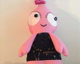 Blip the Alien handmade soft toy.