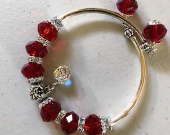 Dark Red faceted Crystal memory wire bracelet