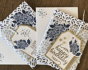 Set of 3 Hand Made Cards; Birthday, Love