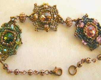 Crystal bracelet woven 3 colors