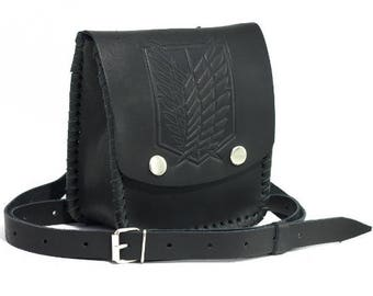 Black leather bag with embossed, Survey Corps, Attack on Titan, Celtic designs, Handmade of genuine leather, Crossbody bag