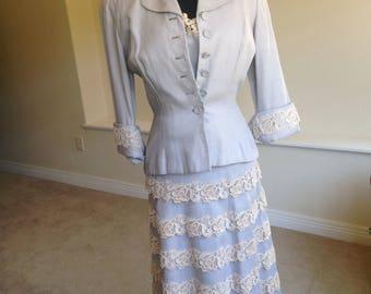 1930 Rayon Crocheted Lace Dress Matching Jacket