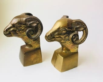 Solid Brass Ram Head Bookends/Brass Bookends/Brass Animal Bookends/Brass Animal/Brass Home Decor/Bookends For Him/Hollywood Regency/Ram/Pair