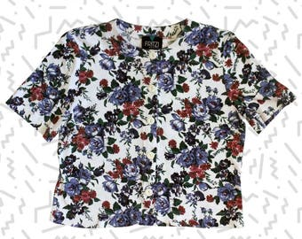 Petite Floral Button Front Cropped Shirt