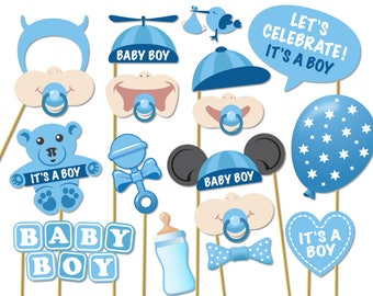Baby Shower Photo Props - It's a Boy Photo Booth Props - Printable Photo Booth Props - Baby Boy Printable Party Props - 0163