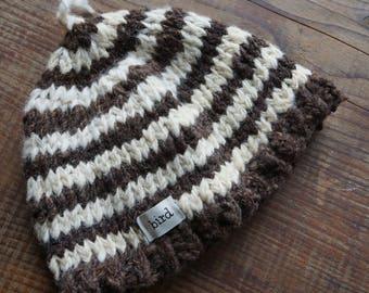 Baby Hat, Wool Baby Hat, Hand Knit Baby Hat, Handspun yarn, organic wool, handmade baby hat, merino