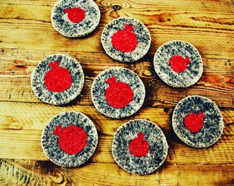 Coaster Anar Persian Influence Drinck upscale stylish Pomegranate 4 inches unique home decor wool pomegranate round machine wash set of 6
