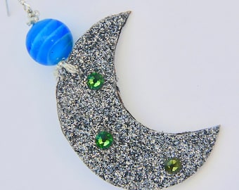 Moon Earrings Swarovski Lunar Planets Theme Milky Way Glitter Fabric Jewelry