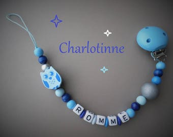 Pacifier clip OWL personalized with name