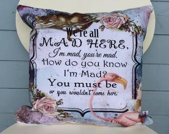 We're All Mad Here Pillow, Alice In Wonderland Cushion, Cheshire Cat Cushion, Mom Gift