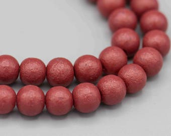 54 Matte Textured Rhubarb Red 6mm Glass Bead with 1mm Hole Jewelry Supply