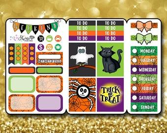 Halloween Costumed Critters - Pocket Size Traveler's Notebook Stickers - Planner Stickers Erin Condren Life Planner EC Sticker Happy Planner