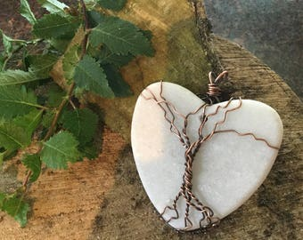 Stone heart tree of life pendant.