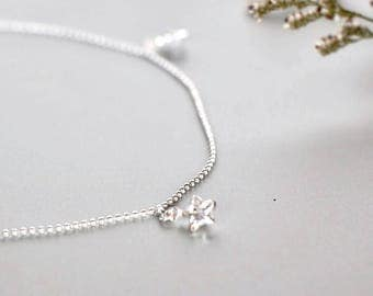 Crystal Star Silver Anklet, Sterling Silver Anklet,  Silver Foot Chain,Bohemian Anklet, Foot Jewelry, Gypsy Anklet, Gift Anklet AS 113