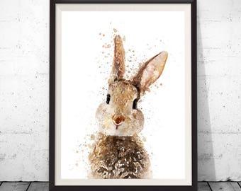 Rabbit Print, Woodland Animals, Nursery Art, Nursery Decor, Nursery Animals Print, Bunny Print, Rabbit Wall Print, Nursery Wall Art, Print