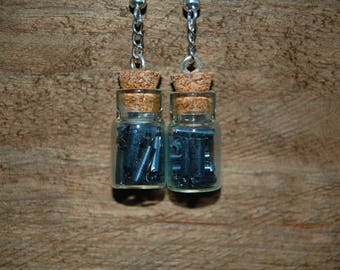 Earrings-vial glass beads and seed beads tubes