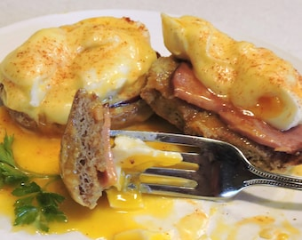 Almost Classic Eggs Benedict downloadable PDF or JPEG Eating Cleaner Breakfast Brunch recipe file
