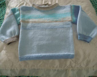 Blue and blue wool sweater, phildar baby 2 years