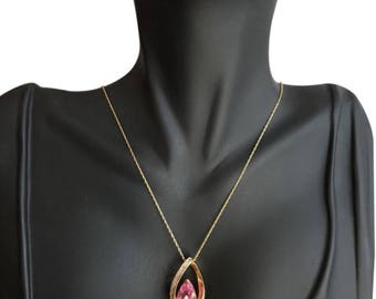10k Pink and diamond necklace
