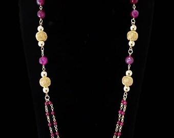 Women's long agate necklace set. Adaze
