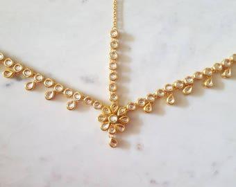 Simple Kundan Matha Patti with Flower Design - Indian Jewelry, Kundan Headpiece, Hair Jewelry, Kundan Jewelry, Gold Maang Tikka Headpiece,