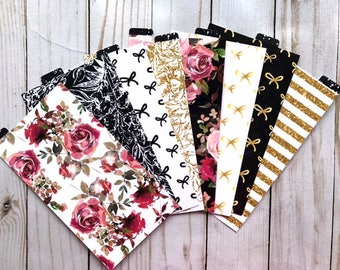 All the Bows // Double Sided Planner Dividers Top Tabs Ring Bound Side Tabs TN Travelers Notebook Dashboard Glitter Floral