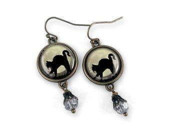 Black Cat and Full Moon Earrings