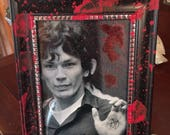 Richard Ramirez print and blood splatter frame