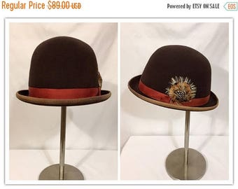 Back to School Sale Vintage Bowler Hat, Vintage Derby Hat, Men's Vintage Hat