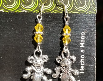 Dancing Bear, Grateful Dead, Yellow Bicone, Crystal, Silver Tone, Ear Wire