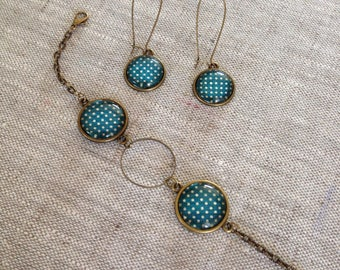 Bracelet and bronze cabochon earrings - green duck with polka dots