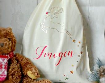 Handmade Personalised Christmas Sack, christmas bag, christmas stocking,