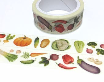 vegetable washi tape 5M beetroot cauliflower pepper onion mushroom pumpkin eggplant health veggie cooking recipes dinner planner sticker