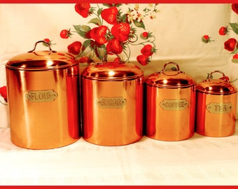 French Kitchen, Solid Copper Canisters, Nesting, Set of 4, Brass Handles, Brass Name Plates, Flour, Sugar, Coffee, Tea - Vintage 1980's
