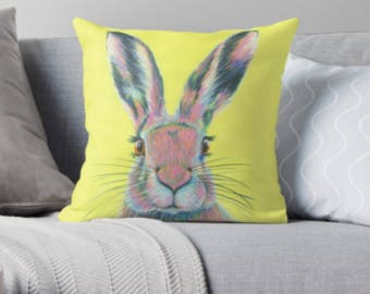 Hare scatter sofa cushion | yellow hare lover scatter sofa cushion | rabbit lover throw pillow | bunny lover cushion