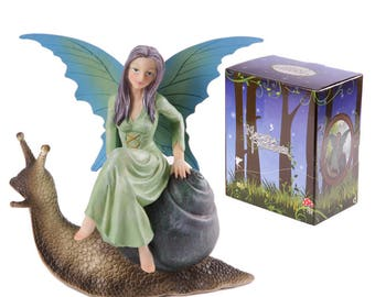 Green Natur fantasy Fairy on Snail (7.1 inches)