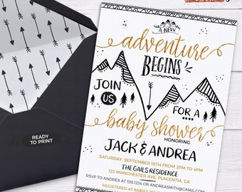 Tribal Baby Shower Invitation Tribal Shower Decorations Arrow Baby Shower Adventure Awaits Tribal Mountain Boy Woodland Baby Shower Boho