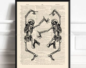 Dancing Skeleton, Cool Skeletons, Gifts For Him, Skull Poster Gift, Coworker Poster Gift, Funny Office Art, Birthday Gift, Funny Wall  267